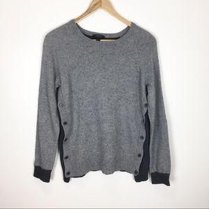J Crew Sweater Wool Blend Gray and Black Size M